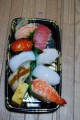 sushi, compliments of olivia. still getting used to fish and raw fish