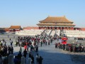 crowds at the forbidden city. note-tour group central