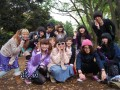 very friendly, hip youngsters having a fashion show in yoyogi-koen park