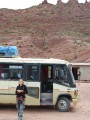 sandra and our dusty road and bus